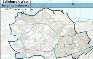The Edinburgh West constituency stretches from Haymarket rail station to Edinburgh airport, and includes Dalry, Comely Bank, Murrayfield, South Gyle,   the Royal Bank of Scotland head office, Edinburgh General NHS hospital, Kirkliston, Ratho and S. Queensferry